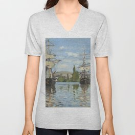 Claude Monet Ships Riding on the Seine at Rouen 18721873 Painting Unisex V-Neck