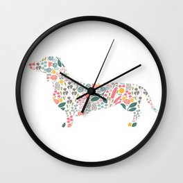 Dachshund Floral Watercolor Art Wall Clock