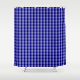 Navy Blue Gingham Check Plaid Pattern Shower Curtain