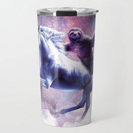Space Sloth On Unicorn - Sloth Pizza Travel Mug