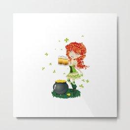 Leprechaun girl with beer Metal Print