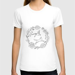 Fox and Loon Playing in Floral Wreath Design — Floral Wreath with Animals Illustration T-shirt