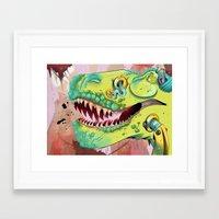 sci fi Framed Art Prints featuring Sci-fi Dinosaur. by Rachel Alderson