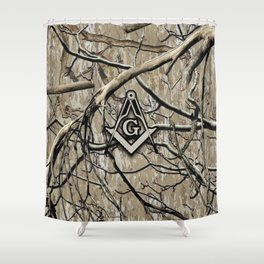 Hunting Camouflage Square Compass 2 Shower Curtain