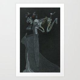 Lady Caressed by Skeleton Art Print