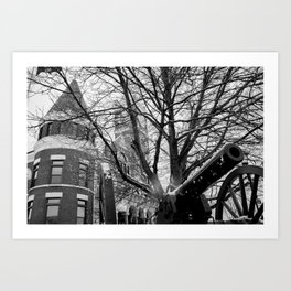 Vintage/Antique Artillery Canon in front of Courthouse [B&W Photography] Art Print