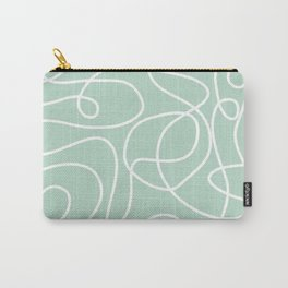 Doodle Line Art | White Lines on Mint Green Carry-All Pouch