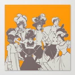 Vintage Ladies APRICOT / Vintage illustration redrawn and repurposed Canvas Print