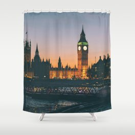 London during Sunset on the Water Shower Curtain