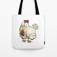 chicken Tote Bags featuring Chicken by Ky Betts