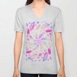 Trippy Rainbow Feathery Mandala - Dreamcatcher Sacred Geometry Unisex V-Neck