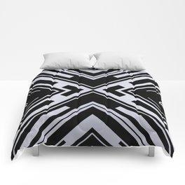 Black and White X Tribal Pattern Shapes Geometric Geometry Contrast II Comforters