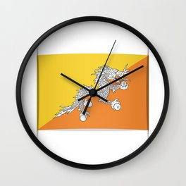 Flag of Bhutan.  The slit in the paper with shadows. Wall Clock