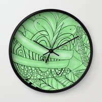 zentangle Wall Clocks featuring Zentangle by Annalisa Amato Art