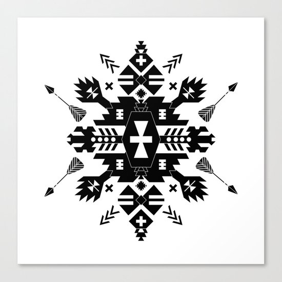 Tribal Black and White Canvas Print