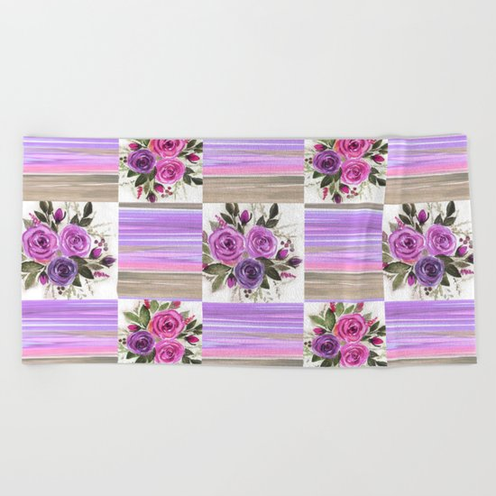 Watercolor. Patchwork Beach Towel