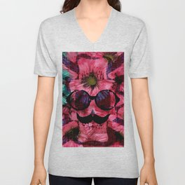 vintage old skull portrait with red and blue flower pattern abstract background Unisex V-Neck