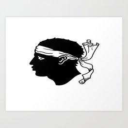 flag of corsica – corsican,tête de maure,île de beauté,ajaccio, bastia, aiacciu. Art Print