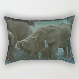 African Elephant Family Drinking in Blue Rectangular Pillow