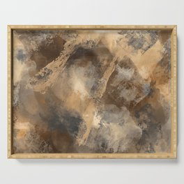 Stormy Abstract Art in Brown and Gray Serving Tray