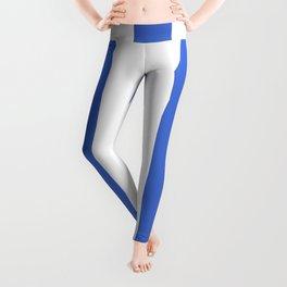 Han blue - solid color - white vertical lines pattern Leggings