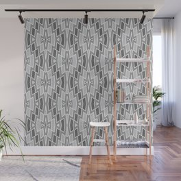 Tribal Diamond Pattern in Grays and White Wall Mural