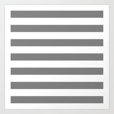 Horizontal Stripes (Gray/White) Art Print