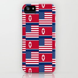 Mix of flag: USA and North Korea iPhone Case