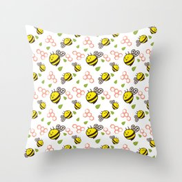 Cuddly Bees and Hives Throw Pillow