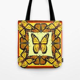 ORIGINAL DESIGN  ABSTRACT OF YELLOW & ORANGE MONARCH BUTTERFLIES BROWN ART Tote Bag