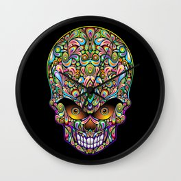 Psychedelic Skull Art Design Wall Clock