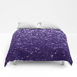 Dark ultra violet purple glitter sparkles Comforters