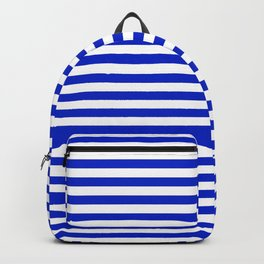 Cobalt Blue and White Thin Horizontal Deck Chair Stripe Backpack