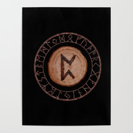 Perthro Elder Futhark Rune of fate and the unmanifest, probability, luck, nothingness, the unborn Poster