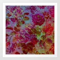 vintage floral Art Prints featuring vintage floral by clemm