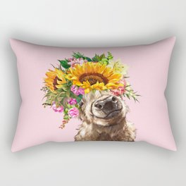 Sunfowers crown Highland Cow in Pink Rectangular Pillow
