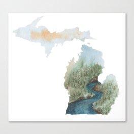 Michigan Watercolor Canvas Print