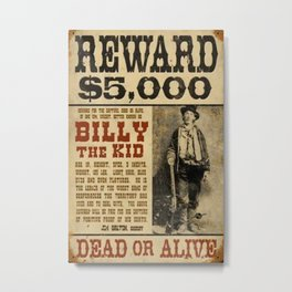 Billy The Kid Mug Shot Wanted Poster Mugshot West Cowboy Vintage Metal Print