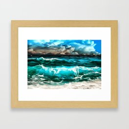 stormy sea waves reacstd Framed Art Print