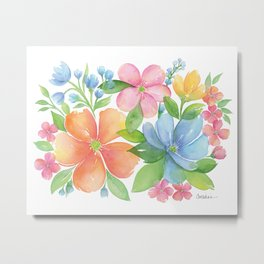 Bright Floral Watercolor Metal Print