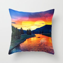 Sunset at Yellowstone Throw Pillow
