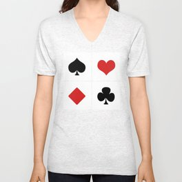 Playing Card Deck Suits Unisex V-Neck