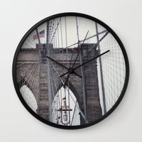 brooklyn bridge Wall Clocks featuring Brooklyn Bridge by Kameron Elisabeth