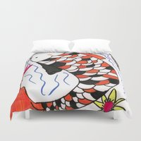 koi fish Duvet Covers featuring Koi Fish by JoAnna04