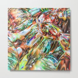 Colorful Melted Glass Metal Print