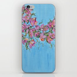 Cherry Blossoms, Pink Flower Wall Art Prints, Impressionism iPhone Skin