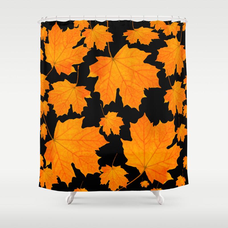 Orange Maple Leaves Black Background Decor Society6 Buyart Shower Curtain