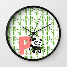 p for panda Wall Clock