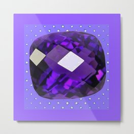 LILAC PURPLE AMETHYST FACETED GEM BIRTHSTONE ART Metal Print