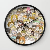 it crowd Wall Clocks featuring Crowd by cmdonodraws